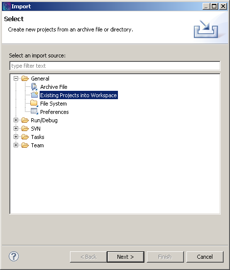 "Choose ""General""/""Existing Projects into Workspace"" from the Import dialog"